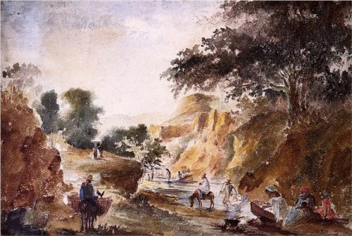 Landscape with Figures by a River Pissarro